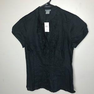 Ann Taylor Petite Black Button Blouse
